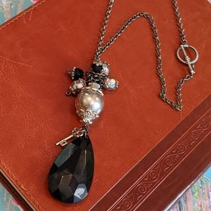 Jewelry - Nwt Faceted Black Acrylic Crystal Necklace